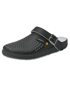 BLACK ESD SMOOTH PERFORATED LEATHER CLOGS WITH HEEL STRAPS (5310)