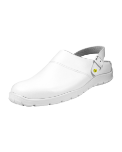 ESD CLOGS WHITE SMOOTH LEATHER UPPERS WITH HEEL STRAPS