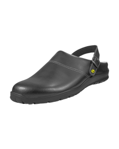 ESD CLOGS BLACK SMOOTH LEATHER UPPERS WITH HEEL STRAP