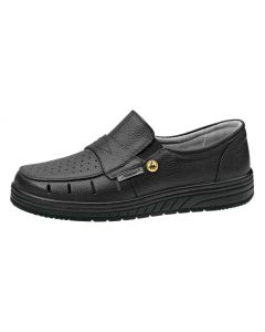 ESD BLACK LEATHER SLIP ON SHOE WITH VENTS (32310)