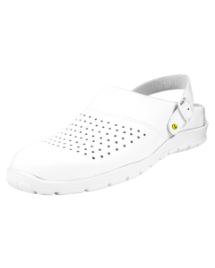 WHITE ESD SMOOTH PERFORATED LEATHER CLOGS WITH HEEL STRAP