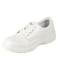 WHITE MICROFIBRE LACE UP SAFETY SHOE MACHINE WASHABLE