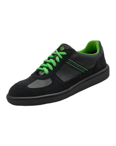 BLACK & GREEN LEATHER ESD SAFETY TRAINERS SRC ANTI-SLIP
