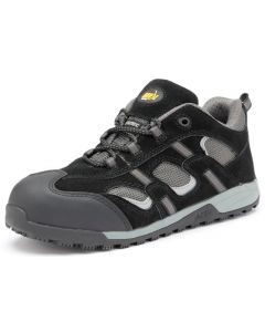 JACKSON BLACK & GREY SAFETY TRAINERS SLIP RESISTANT SOLE ANTI-STATIC