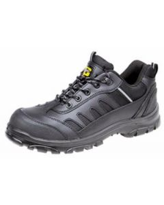BLACK LACE UP SAFETY TRAINERS ANTI SLIP ANTI-STATIC 200 JOULE CAP (M462A)