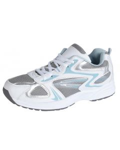 WHITE BLUE FABRIC TRAINERS FASTENING STRAPS (T877G)